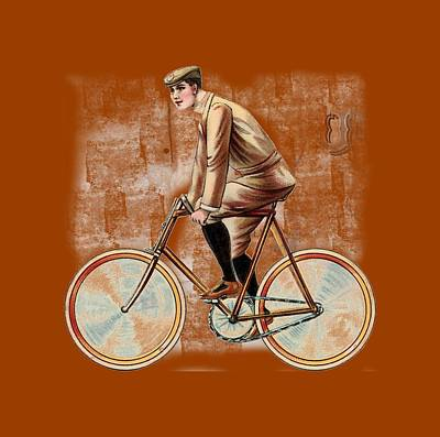 Digital Art - Cycling Man T Shirt Design by Bellesouth Studio