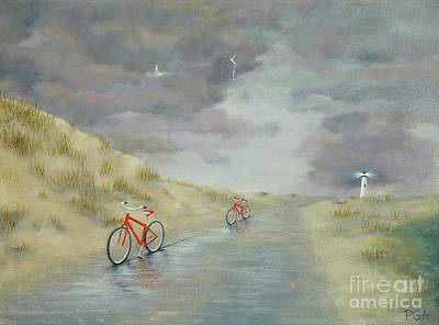 Painting - Cycling On Ocracoke Island by Phyllis Andrews