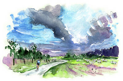 Painting - Cycling On The North Yorkshire Moors 04 by Miki De Goodaboom