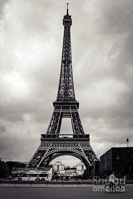 Photograph - Cycling Past The Eiffel Tower by Marina McLain