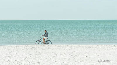 Photograph - Cycling The Beach by CR Courson