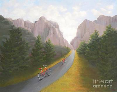 Painting - Cycling To The Pearly Gates by Phyllis Andrews