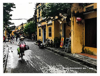 Digital Art - Cyclist In Hoi An, Vietnam by RayZa Photography