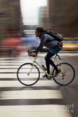 Photograph - Cyclist, New York City #130598 by John Bald