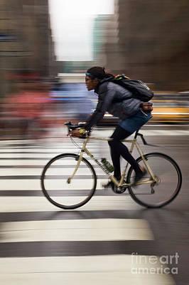 Photograph - Cyclist, New York City #130598 by John Bald