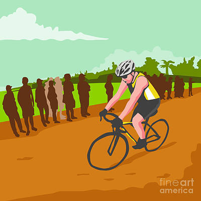 Public Administration Digital Art - Cyclist Racing Wpa by Aloysius Patrimonio