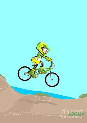 Activity Digital Art - Cyclist Riding Jumping With Bicycle Cross-country by Daniel Ghioldi