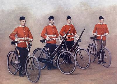 Bike Drawing - Cyclists Of The Lancashire Fusiliers by Vintage Design Pics