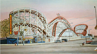 Cyclone Rollercoaster In Coney Island New York Art Print