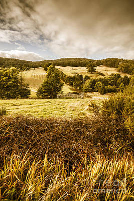 Clouds Over Pasture Photograph - Cygnet Rustic Farming Fields by Jorgo Photography - Wall Art Gallery