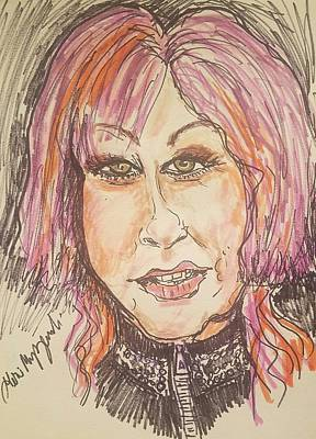 Art Of Soul Singer Drawing - Cyndi Lauper by Geraldine Myszenski