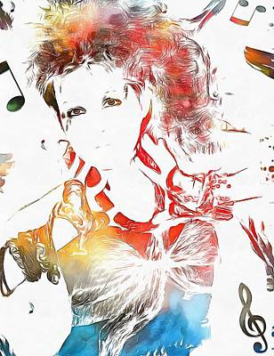 Other Painting - Cyndi Lauper Watercolor by Dan Sproul