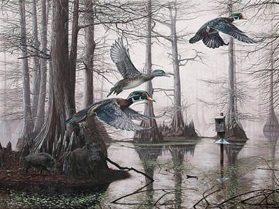 Painting - Cypress Bayou Neighbors by Glenn Pollard