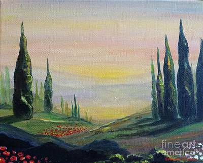 Photograph - Cypress Dawn Landscape by Italian Art