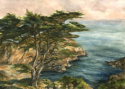 Early California Landscape Painting - Cypress In Early Evening Print by Candace Bell