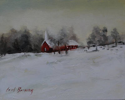 Painting - Cypress In The Snow by Carol Berning