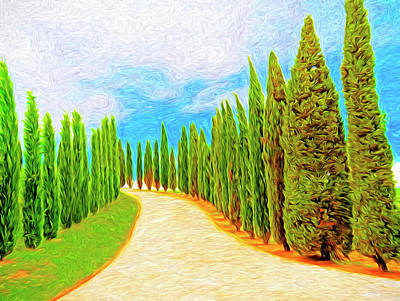 Digital Art - Cypress-lined Tuscan Road by Dennis Cox WorldViews