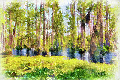 Painting - Cypress Reflections Ap by Dan Carmichael