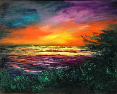 Cypress Sunset Art Print by Sally Seago