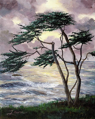 Moonstone Painting - Cypress Tree Just Before The Rain by Laura Iverson
