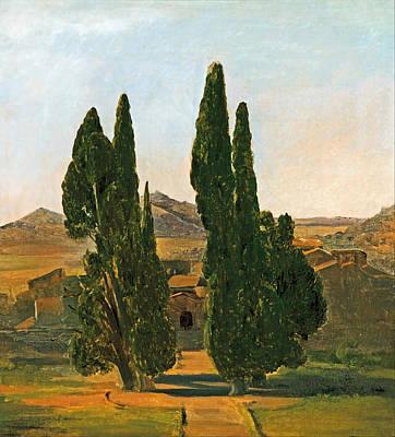 Villa Painting - Cypress Trees At The Villa D'este by Mountain Dreams
