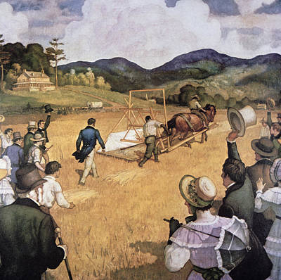 Country Scenes Drawing - Cyrus H Mccormick And His Reaping Machine by Newell Convers Wyeth
