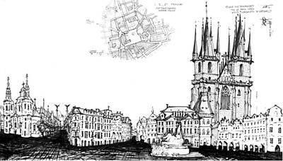 Drawing - Czech Republic 6.54.hungary-6-detail-c by Charlie Szoradi
