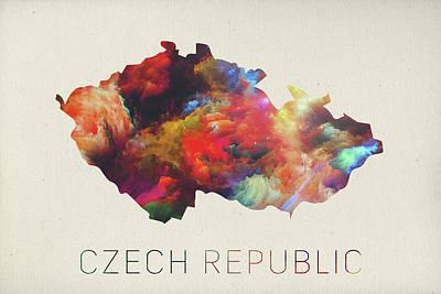Republic Mixed Media - Czech Republic Watercolor Map by Design Turnpike