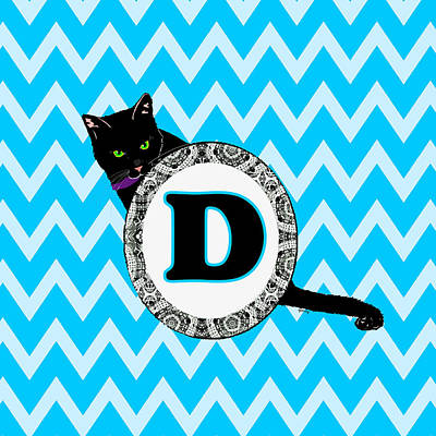 Cat Digital Art - D Cat Chevron Monogram by Paintings by Gretzky
