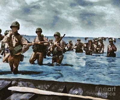 D Day Landings, Wwii Art Print by Mary Bassett