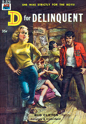 Print featuring the painting D For Delinquent by Rudy Nappi