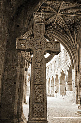 Photograph - d Gothic Ceiling Jerpoint Abbey County Kilkenny Ireland Sepia by Shawn O'Brien