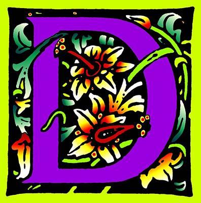 D In Purple Art Print by Kathleen Sepulveda