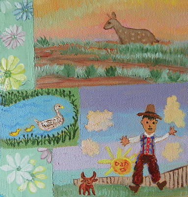 Painting - D Is For Dad Deer Ducks And Daisies Childhood Quilt Detail by Dawn Senior-Trask