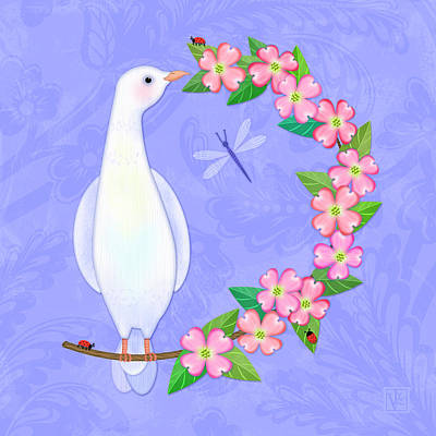 Digital Art - D Is For Dove And Dogwood by Valerie Drake Lesiak