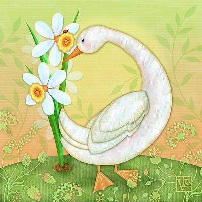 Digital Art - D Is For Duck And Daffodils by Valerie Drake Lesiak