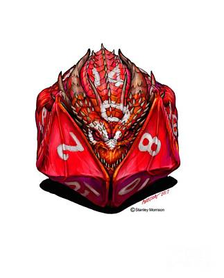 Digital Art - D20 Dragon T Shirt by Stanley Morrison