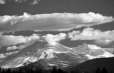 Photograph - D2m6108-bw Mt Shasta And Shastina Crater by Ed Cooper Photography
