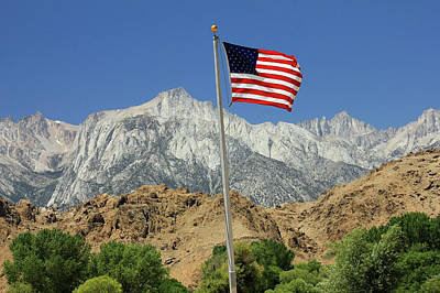 Photograph - D2m6477 Flag And Mount Whitney by Ed Cooper Photography