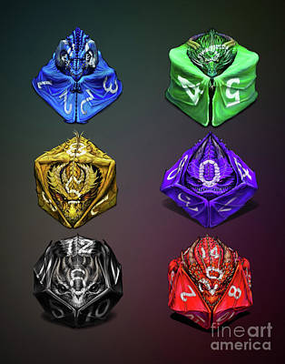 Digital Art - D4-20 Dragon Dice Poster by Stanley Morrison