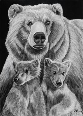 Grizzly Bear Drawing - Da Bears by Kyla Heumann