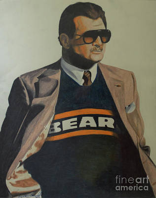 Drawing - Da Coach Ditka by Melissa Goodrich