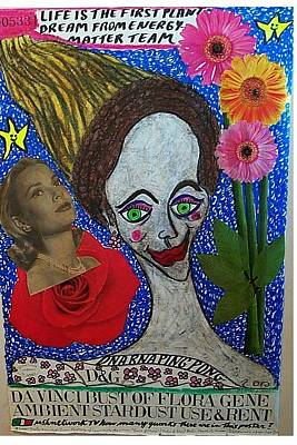 What Is Life Mixed Media - Da Vinci Bust Of Flora Gene Ambient Stardust Use And Rent by Francesco Martin