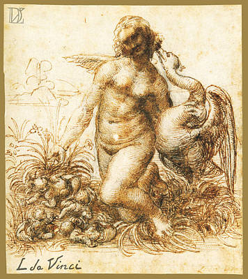Monotone Drawing - Da Vinci Leda And The Swan Remastered By Da Vinci by Tony Rubino