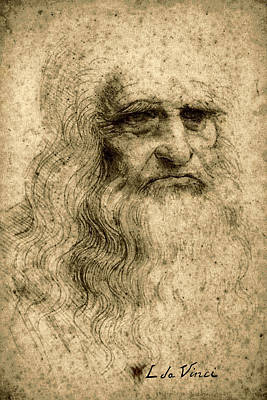Da Vinci Self Portrait Remastered By Da Vinci Art Print by Tony Rubino