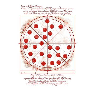 Tom Parker Digital Art - Da Vinci Vitruvian Pizza by Carmelo Alberto Monaco