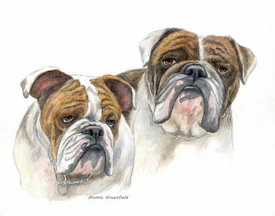 English Bulldog Drawing Painting - daBullies by Mamie Greenfield