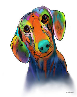 Digital Art - Dachhund by Marlene Watson
