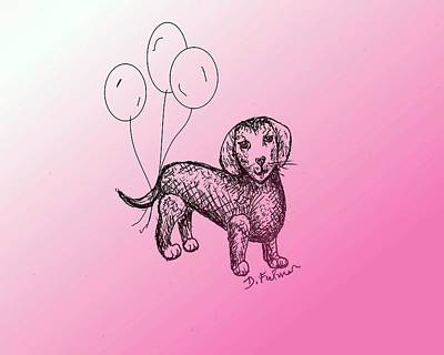 Drawing - Dachshund by Denise Fulmer