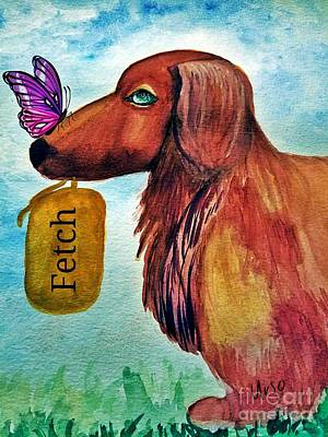 Painting - Dachshund Distraction by Maria Urso